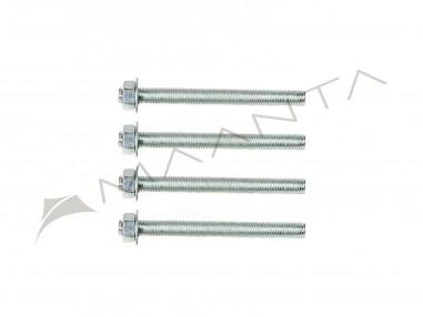 Juego de 4 varillas roscadas de acero galvanizado M10 longitud 12 cm